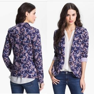 Nordstrom Hinge Paisley Blazer Small Pockets Lined